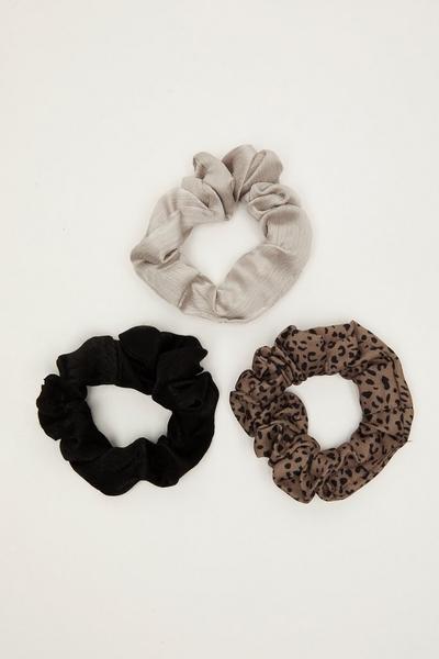 Black and Grey Satin Scrunchie Set