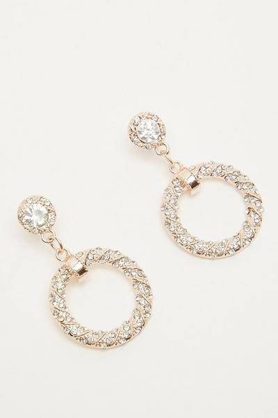 Rose Gold Diamante Drop Earrings
