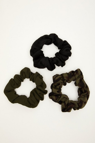 Black and Khaki Satin Scrunchie Set