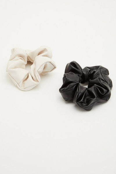 Black and Nude Faux Leather Scrunchie Set