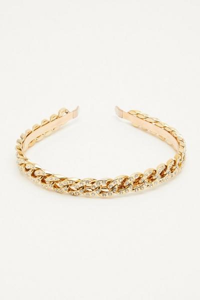 Gold Diamante Chain Headband