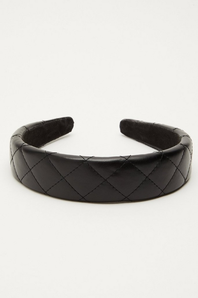 Black Faux Leather Quilted Headband