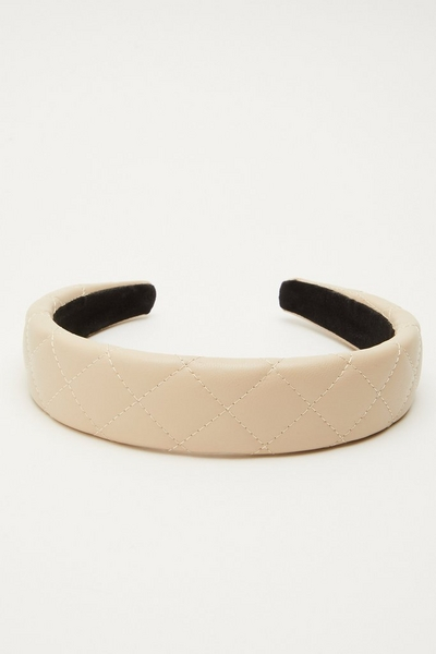 Nude Faux Leather Quilted Headband