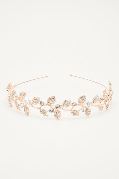 Rose Gold Diamante Leaf Headband