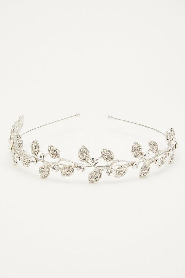 Silver Diamante Leaf Headband