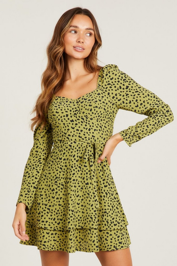 Khaki Animal Print Mini Dress