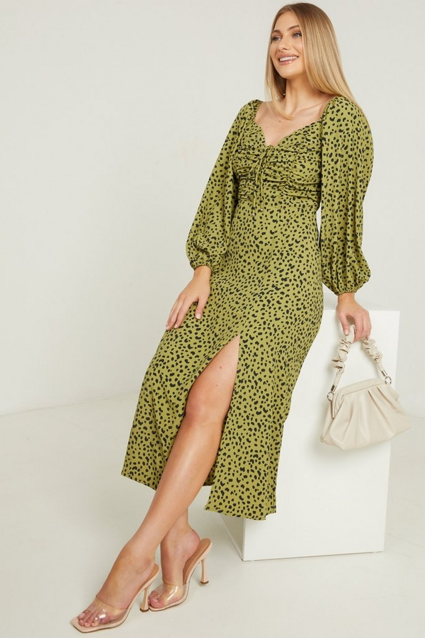 Khaki Animal Print Midi Dress