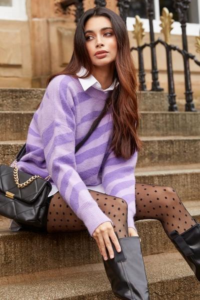 Lilac Zebra Print Knitted Jumper