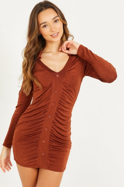 Brown Ruched Bodycon Mini Dress
