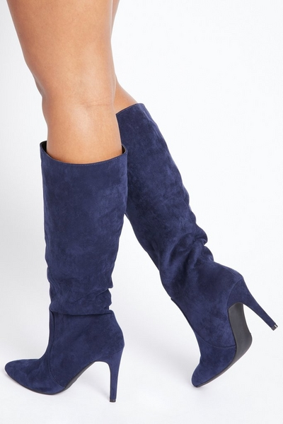 Navy Faux Suede Knee High Boots
