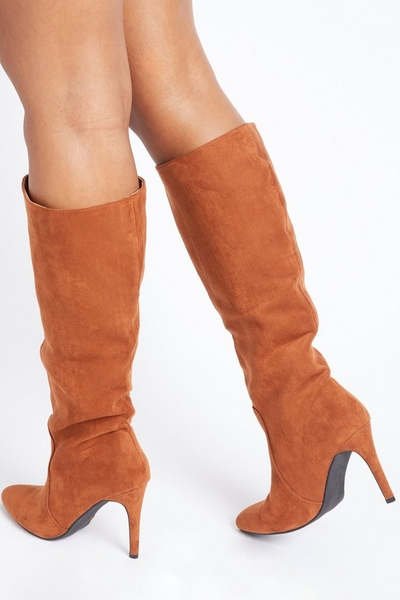 Tan Faux Suede Knee High Boots