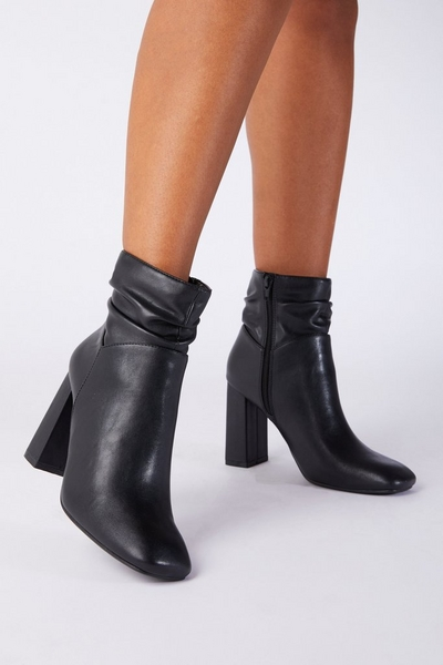 Black Faux Leather Ruched Ankle Boot