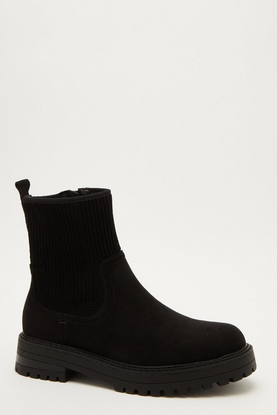 Black Faux Suede Ribbed Ankle Boots