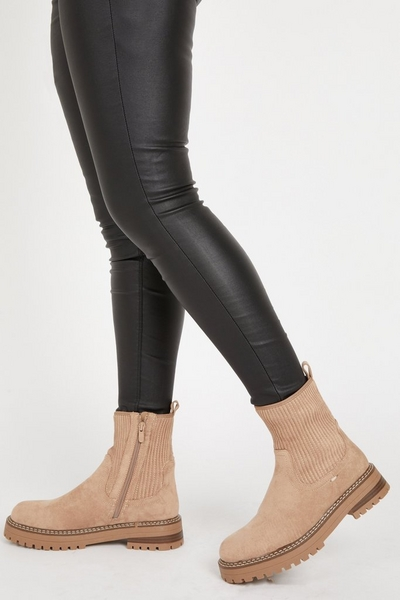 Stone Faux Suede Ribbed Ankle Boots