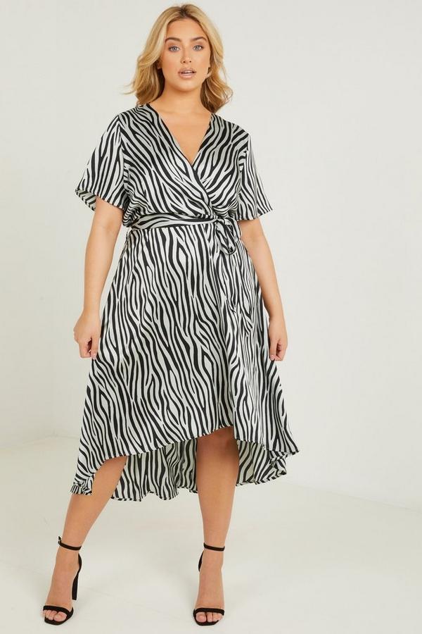 Curve Sage Zebra Print Midi Dress