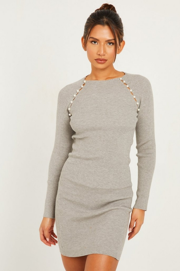 Grey Pearl Knitted Jumper Dress