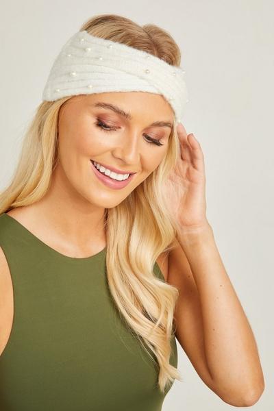 Cream Pearl Knit Headband