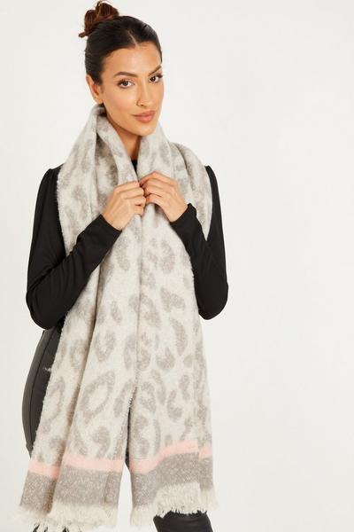 Grey Leopard Print Scarf