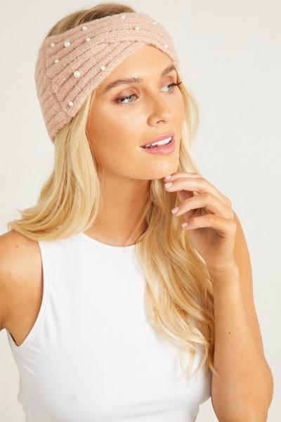 Pink Pearl Knit Headband