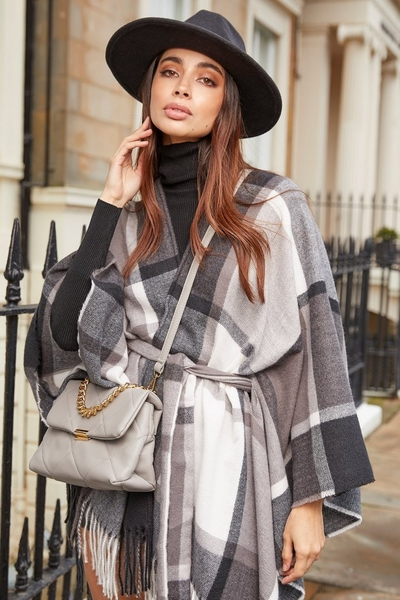Black Check Belted Cape