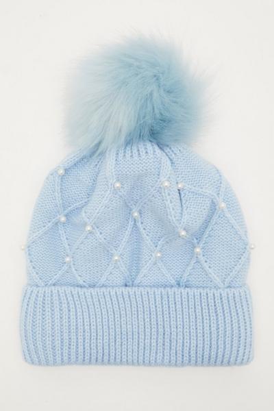Blue Pearl Embellished Pom Hat