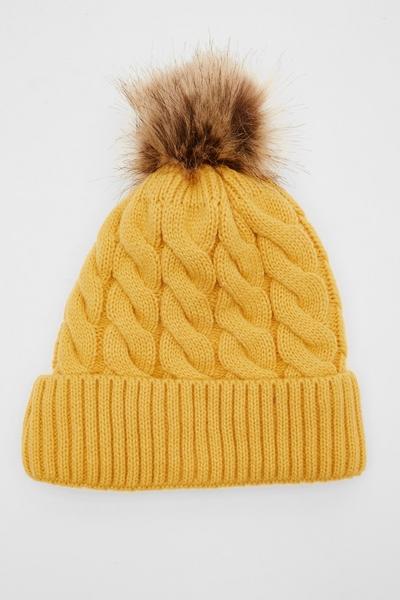 Mustard Knit Pom Hat