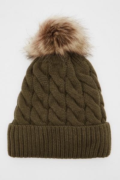 Khaki Knit Pom Hat