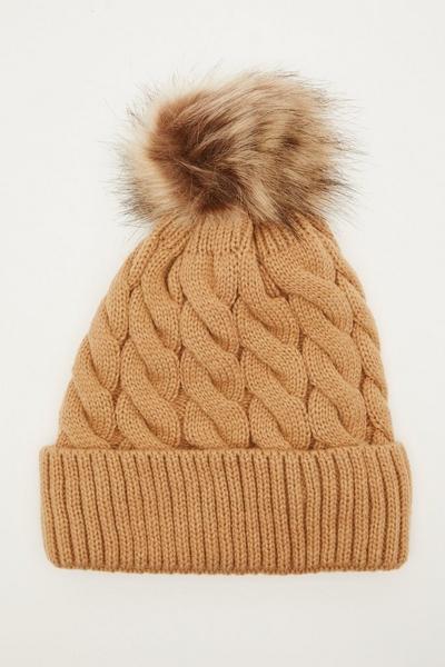 Camel Knit Pom Hat