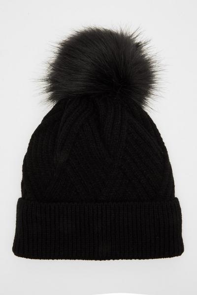 Black Twist Knit Pom Hat