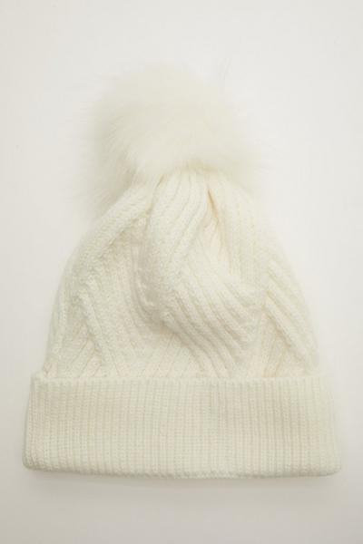 Cream Twist Knit Pom Hat
