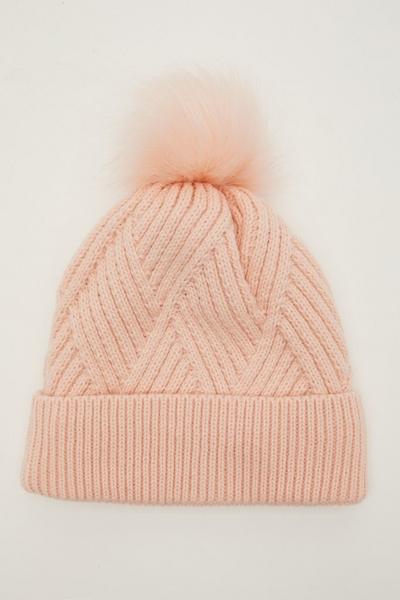 Pink Twist Knit Pom Hat