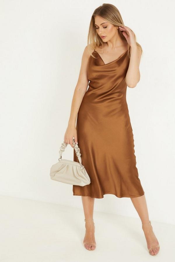 Brown Satin Midi Dress