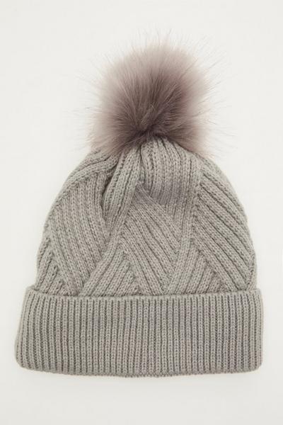 Grey Twist Knit Pom Hat
