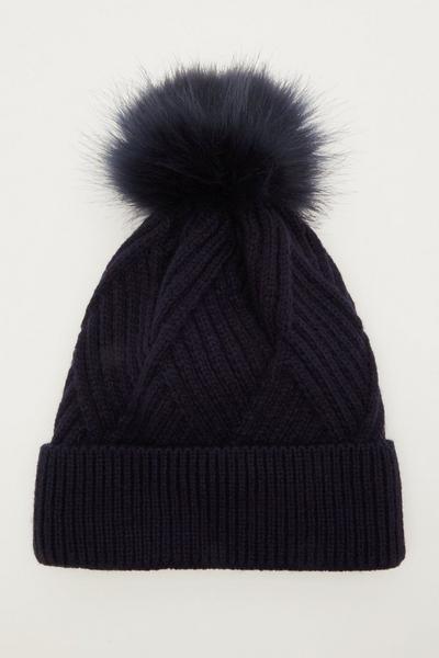 Navy Twist Knit Pom Hat