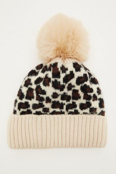 Camel Leopard Print Pom Hat