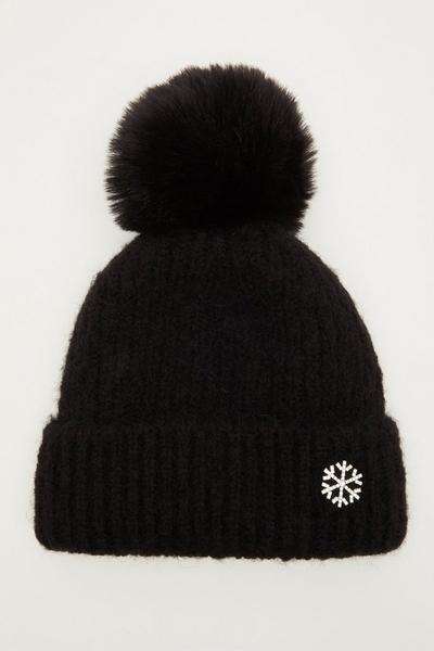 Black Diamante Snowflake Pom Hat