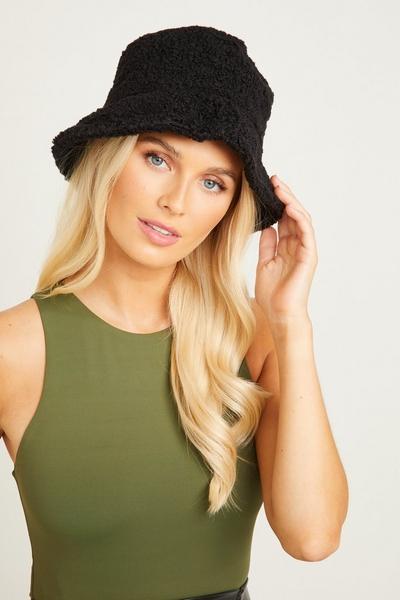 Black Faux Shearling Bucket Hat