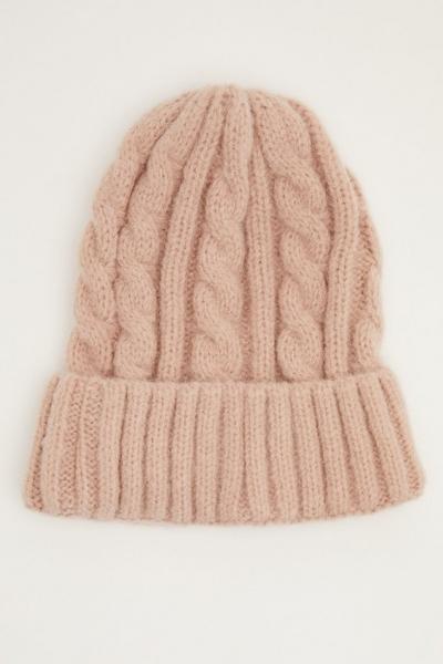 Pink Knit Beanie Hat