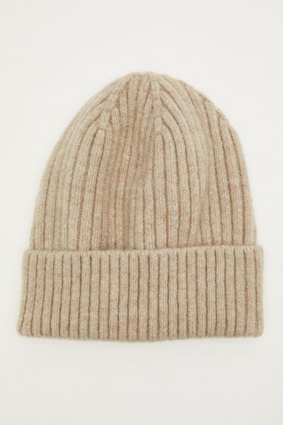 Beige Ribbed Hat
