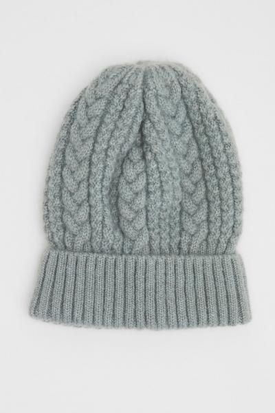 Blue Knit Beanie Hat