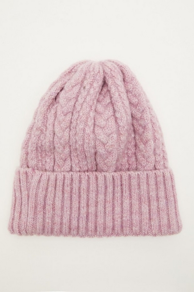 Lilac Cable Knit Hat