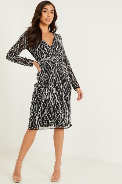Black Sequin Long Sleeve Midi Dress