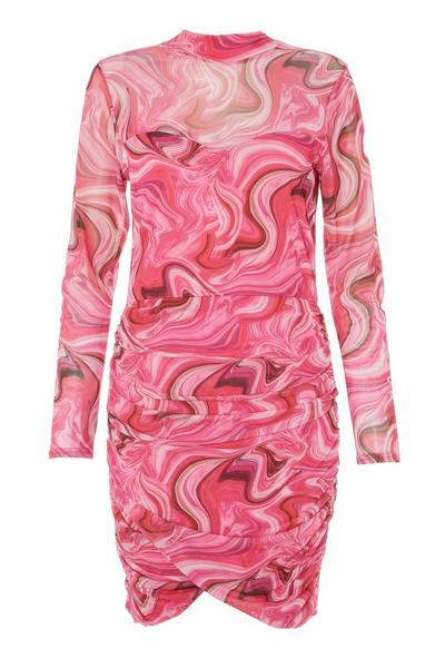 Pink Marble Print Ruched Bodycon Dress