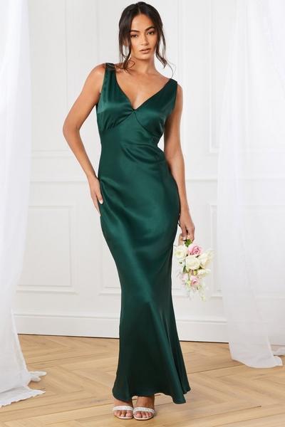 Green Satin Slip Maxi Dress