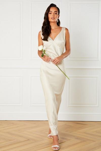 Champagne Satin Slip Maxi Dress