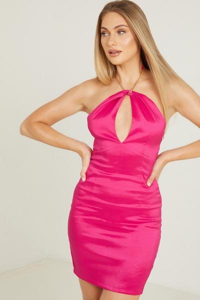 Pink Chain Halterneck Dress