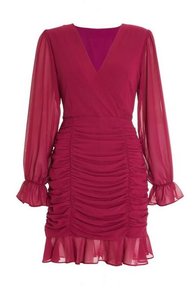 Pink Chiffon Long Sleeve Wrap Dress