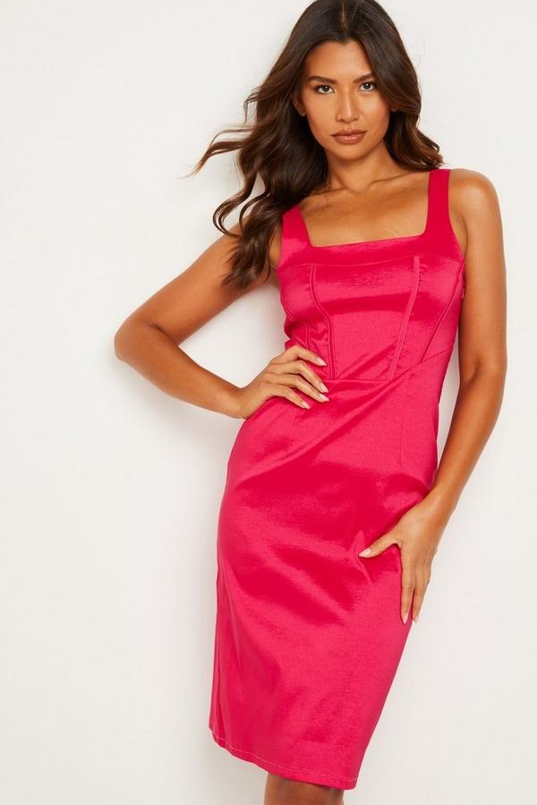 Pink Square Neck Dress