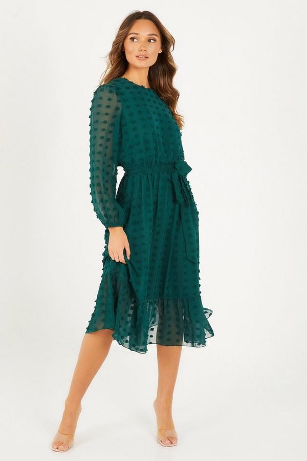 Green Mesh Long Sleeve Midaxi Dress