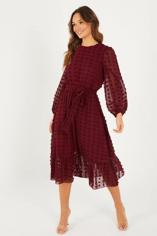 Wine Mesh Long Sleeved Midi Dress